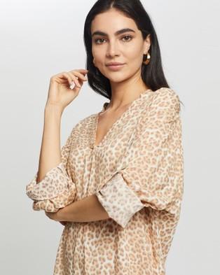 Cartel & Willow Beach Shirt Dress - Printed Dresses (Tan Leopard)