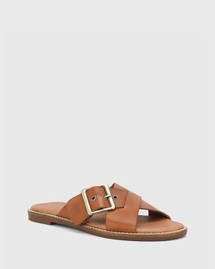 Wittner Clooney Leather Crossed Strap Buckle Slides - Sandals (Tan)