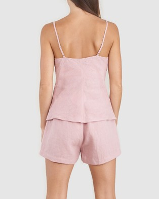 Amelius Grace Linen Cami and Short Set - All gift sets (Dusty Rose)