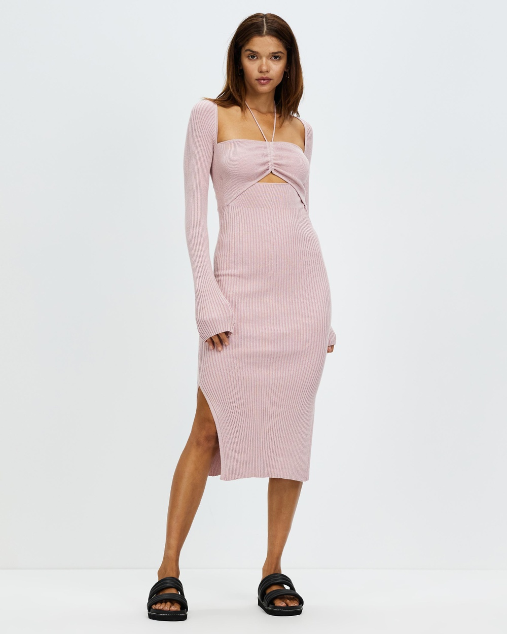 AERE Halter Knit Dress Bodycon Dresses Pink