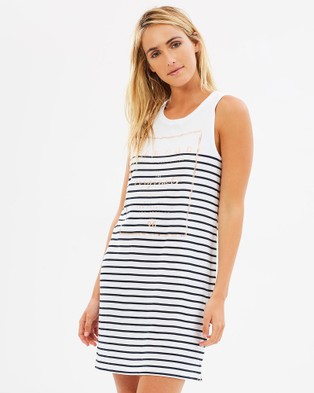 Elwood – Zane Dress – Printed Dresses Navy Stripe
