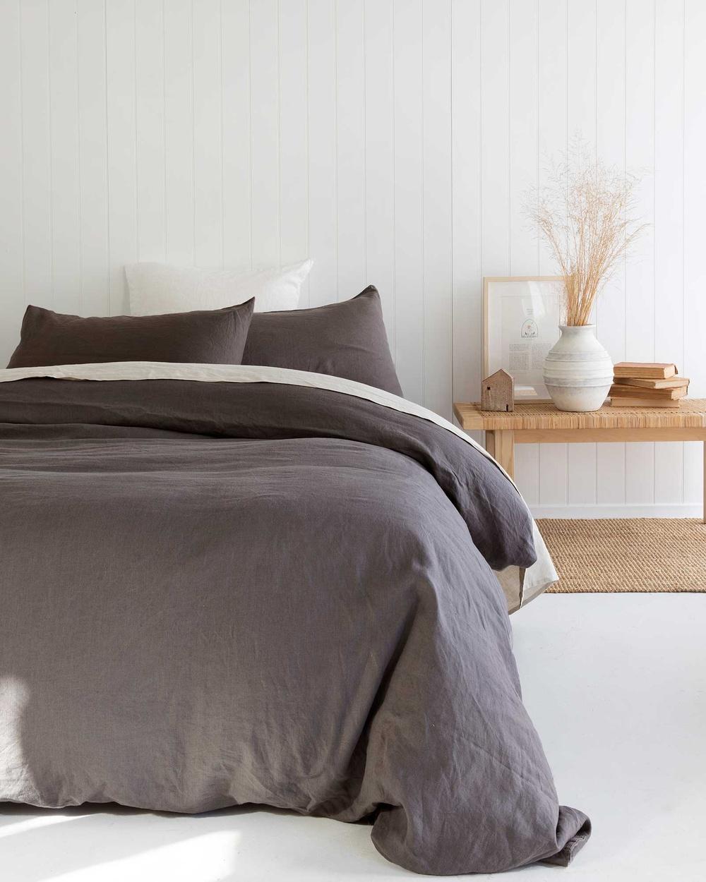 Carlotta + Gee 100% Linen Duvet Cover Home Grey Australia