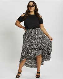 You & All - Plus Floral Print Frill Hi-Lo Skirt
