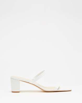 Atmos&Here Sunny Leather Heels - Mid-low heels (White Leather)