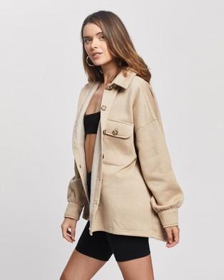 Missguided Petite Petite Soft Shacket - Coats & Jackets (Beige)