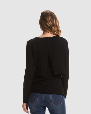 Soon Maternity - Petra Long Sleeve Feeding Top - Long Sleeve T-Shirts (Black) Petra Long Sleeve Feeding Top