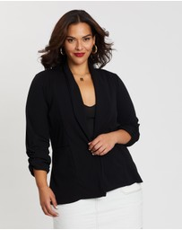 Boohoo - Lapel Detail Ruched Sleeve Blazer