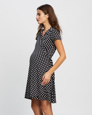 Angel Maternity Maternity and Nursing Polkadot Wrap Dress - Dresses (Black & White Polkadot)