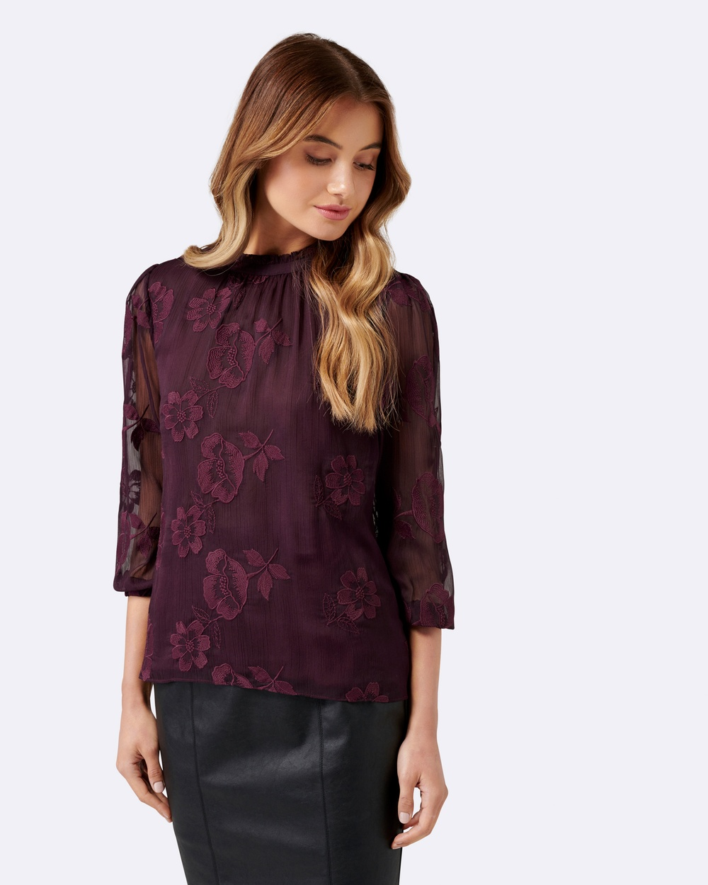 Forever New Tanya Textured Blouson Blouse Tops Vintage Grape Tanya Textured Blouson Blouse