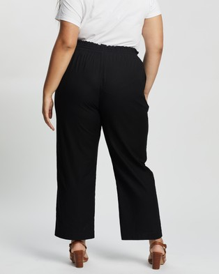 Atmos&Here Curvy Eliana Linen Blend Pants - Pants (Black)