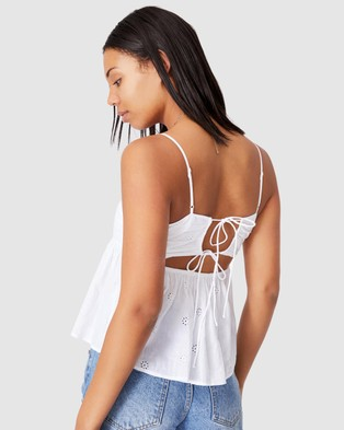 Cotton On - Molly Tie Back Cami Tops (White Crinkle)