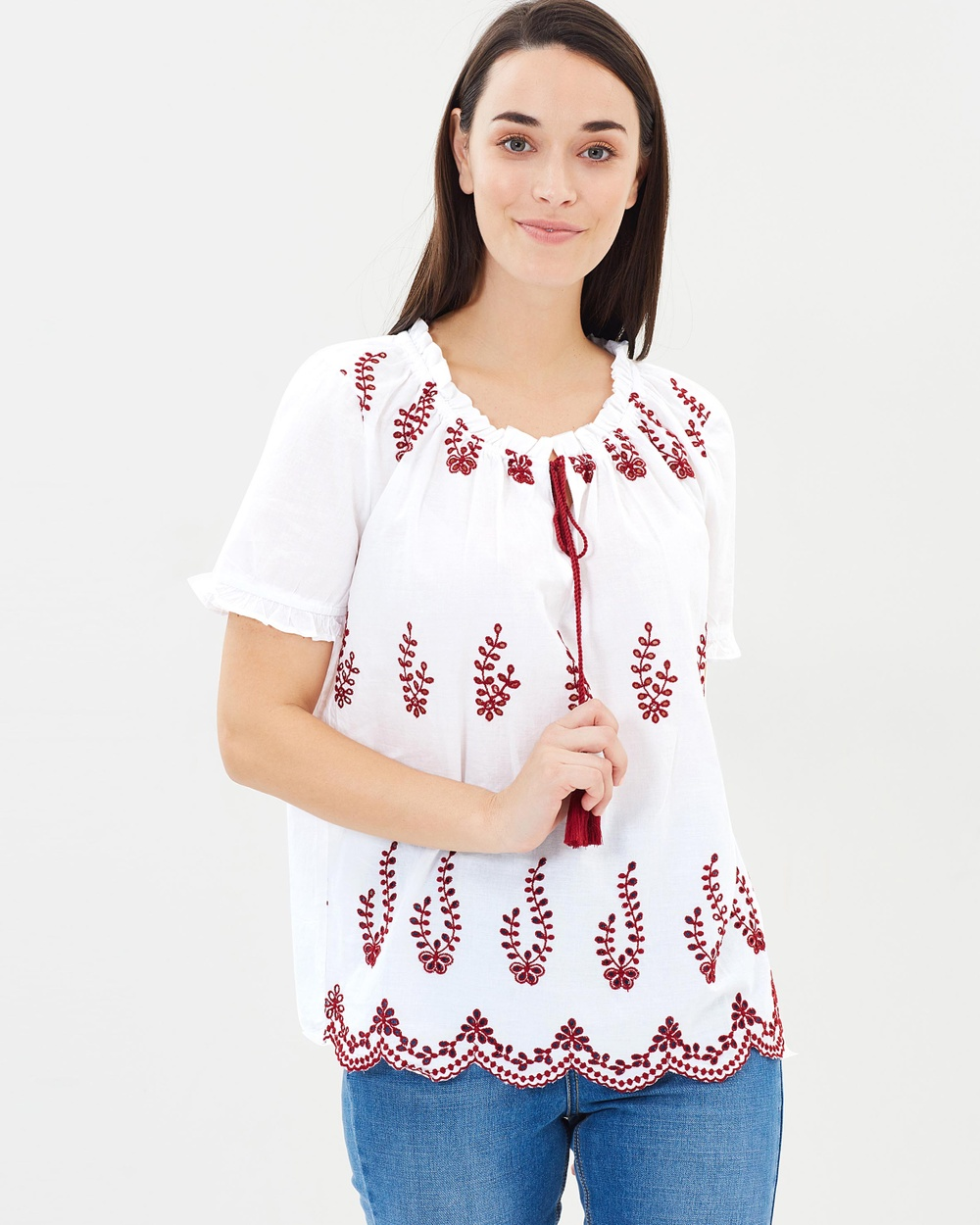 Dorothy Perkins Embroidered Frill Gypsy Top Tops White Embroidered Frill Gypsy Top