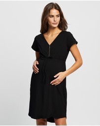 Angel Maternity - Maternity & Nursing Zipper Dress