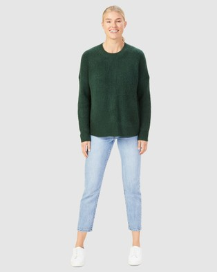 French Connection - Stitch Detail Crew Neck Knit - Jumpers & Cardigans (FOREST GREEN) Stitch Detail Crew Neck Knit