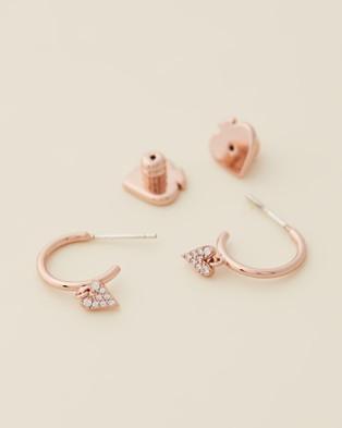 Kate Spade Sweetheart Huggies - Jewellery (Clear & Rose Gold)