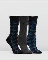 French Connection - 3-Pack Kaleidoscope Diamond Socks