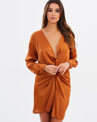 Lioness – Fame and Lust Silky Dress – Dresses (Rust)