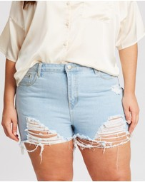 Boohoo - Plus Extreme Rip Denim Shorts