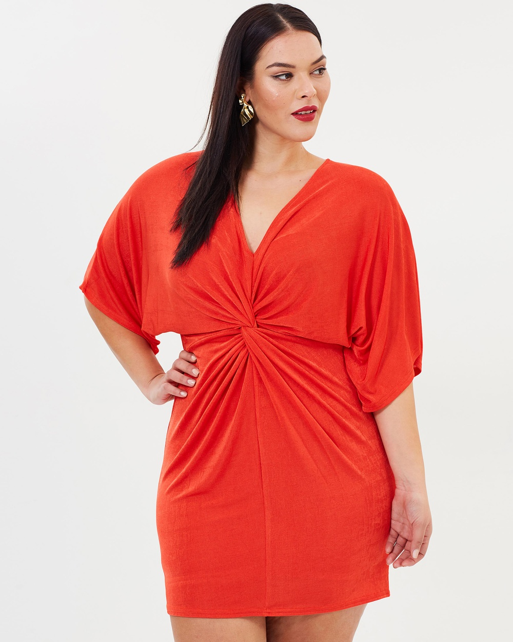 Missguided Curve Slinky Kimono Dress Dresses Orange Slinky Kimono Dress