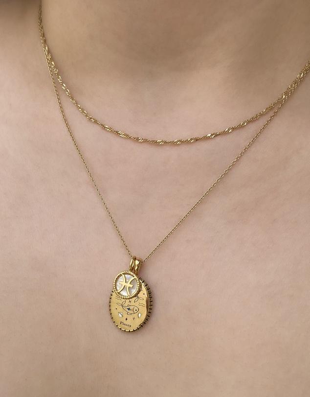 Women Pisces Zodiac Enamel 14K Gold Vermeil Pendant