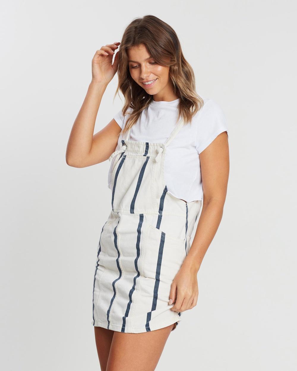 Cotton On Cream & Navy Stripe Denim Pinafore Mini Dress