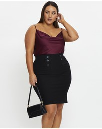 You & All - Plus Ponte Stretch Pencil Work Skirt