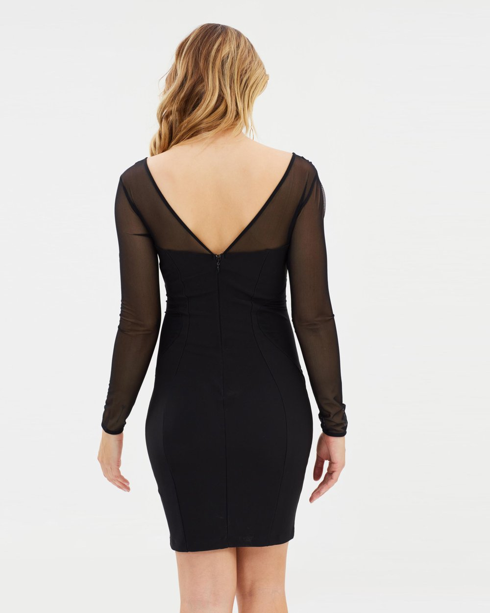 849804d1dc0d Lace Trim Long Sleeve Bodycon Dress by Lipsy Online