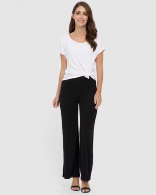 Bamboo Body Ribbed Bamboo Pants - Pants (Black)