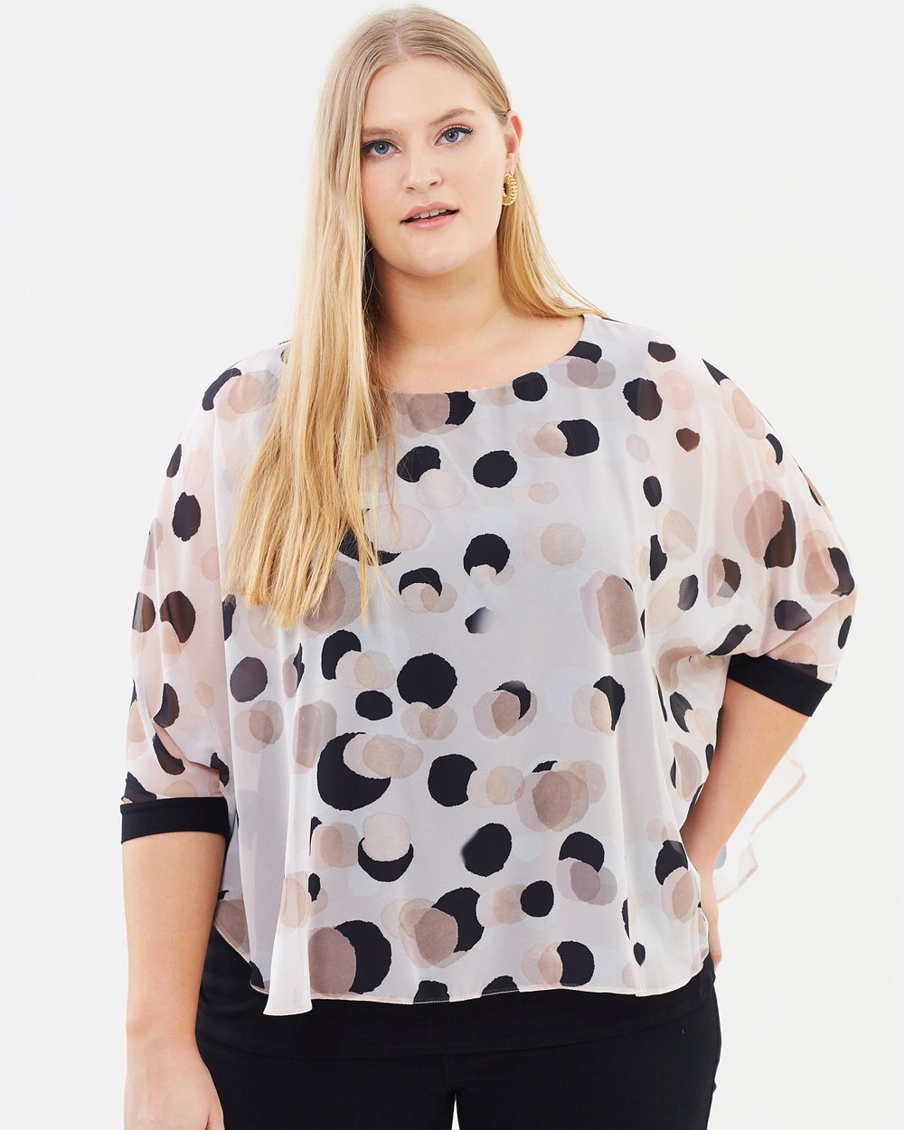 EVANS Nude Spot Bubble Top Tops Cream Nude Spot Bubble Top