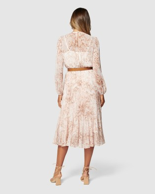 Forever New Fiona Pleat Belted Midi Dress - Dresses (Light Mocha Snake)