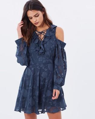 Dark Pink – V Neck Frill Dress
