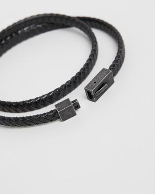 Kavalri Leather and Aged Steel Rectangular Clasp Bracelet - Jewellery (Black)