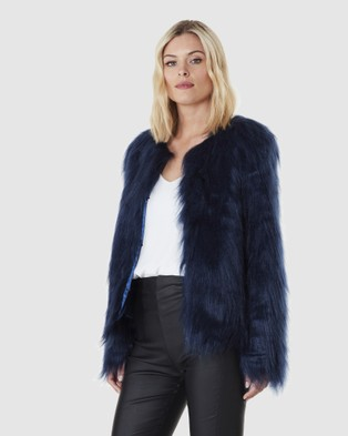 Everly Collective Marmont Faux Fur Jacket - Coats & Jackets (Midnight Blue)