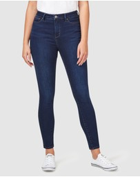 Jeanswest - Feather Touch High Waisted Skinny 7/8th Inky Blue Jeans