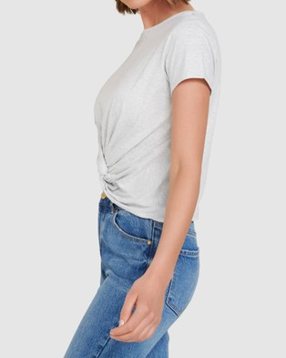 Forever New Whitney Twist Front Crop Tee - T-Shirts & Singlets (Grey Marle)