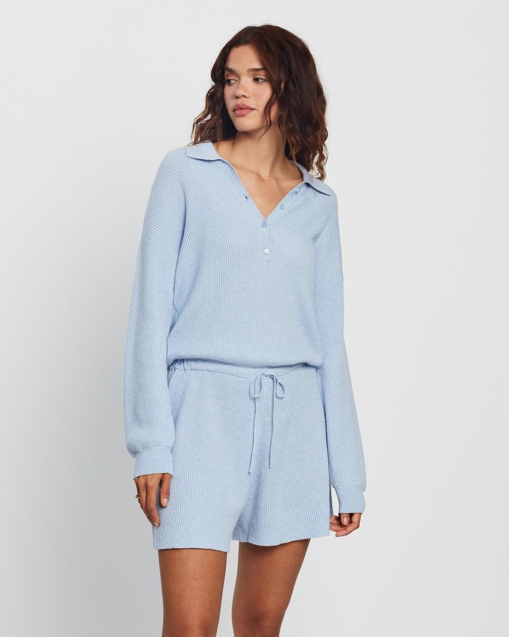 AERE Organic Cotton & Cashmere Knit Playsuit Jumpsuits Playsuits Sky Line
