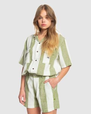 Quiksilver - Womens Destination Trip Linen Short Shorts (CALLISTE GR BOLD LIN)