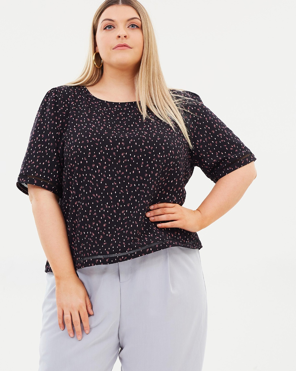 Atmos & Here Curvy ICONIC EXCLUSIVE Emily Woven Top Tops Paisley Scatter Print ICONIC EXCLUSIVE Emily Woven Top