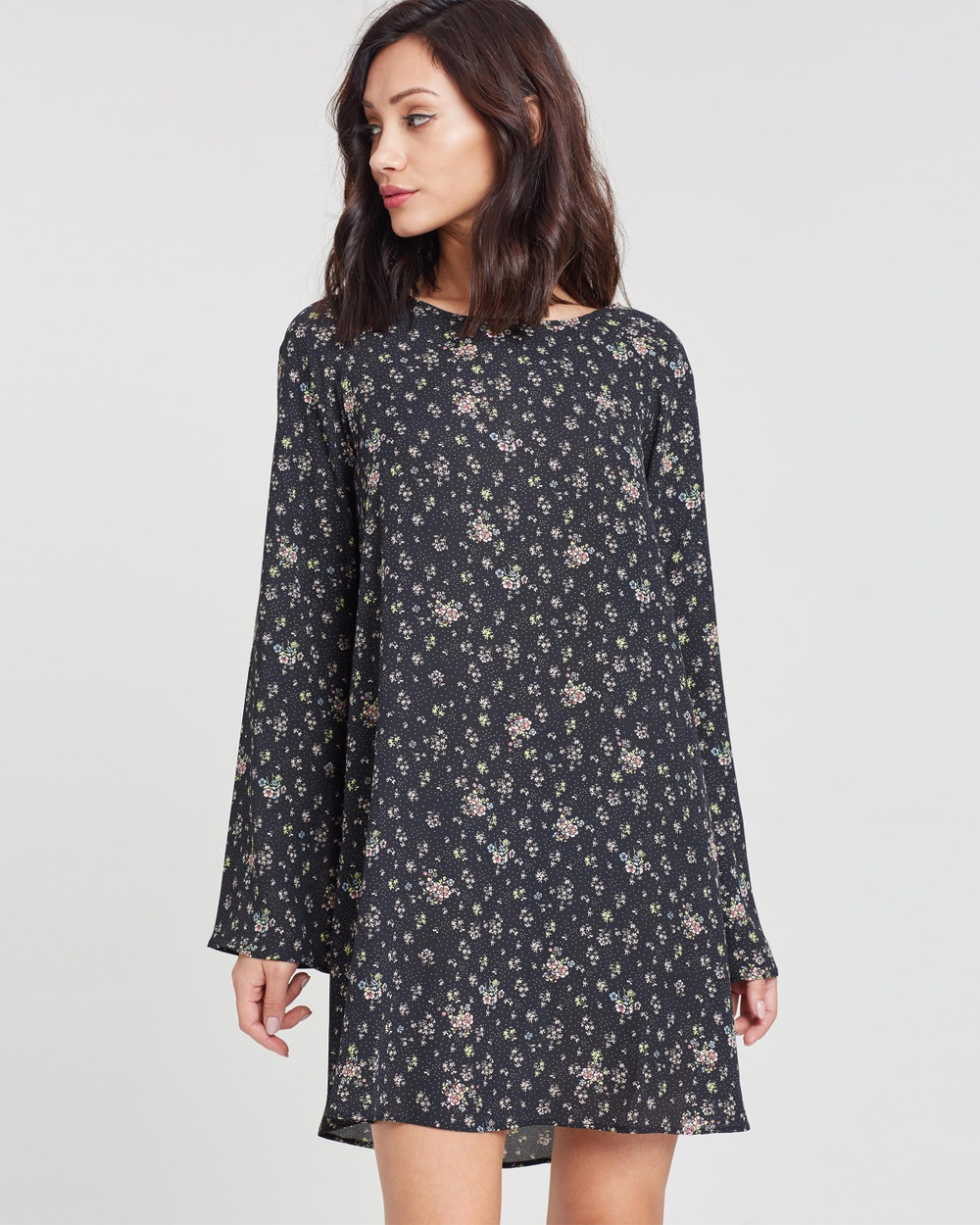 Missguided Floaty Swing Dress Printed Dresses Black Floaty Swing Dress