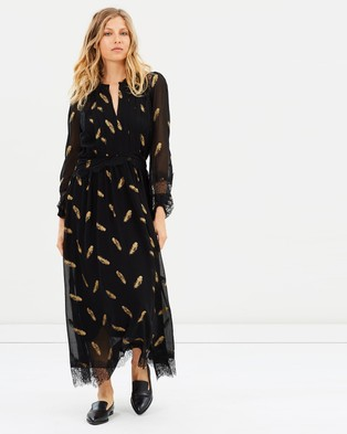 The Kooples – Long Sleeve Dress With Lace Stripe Details – Dresses (Black)