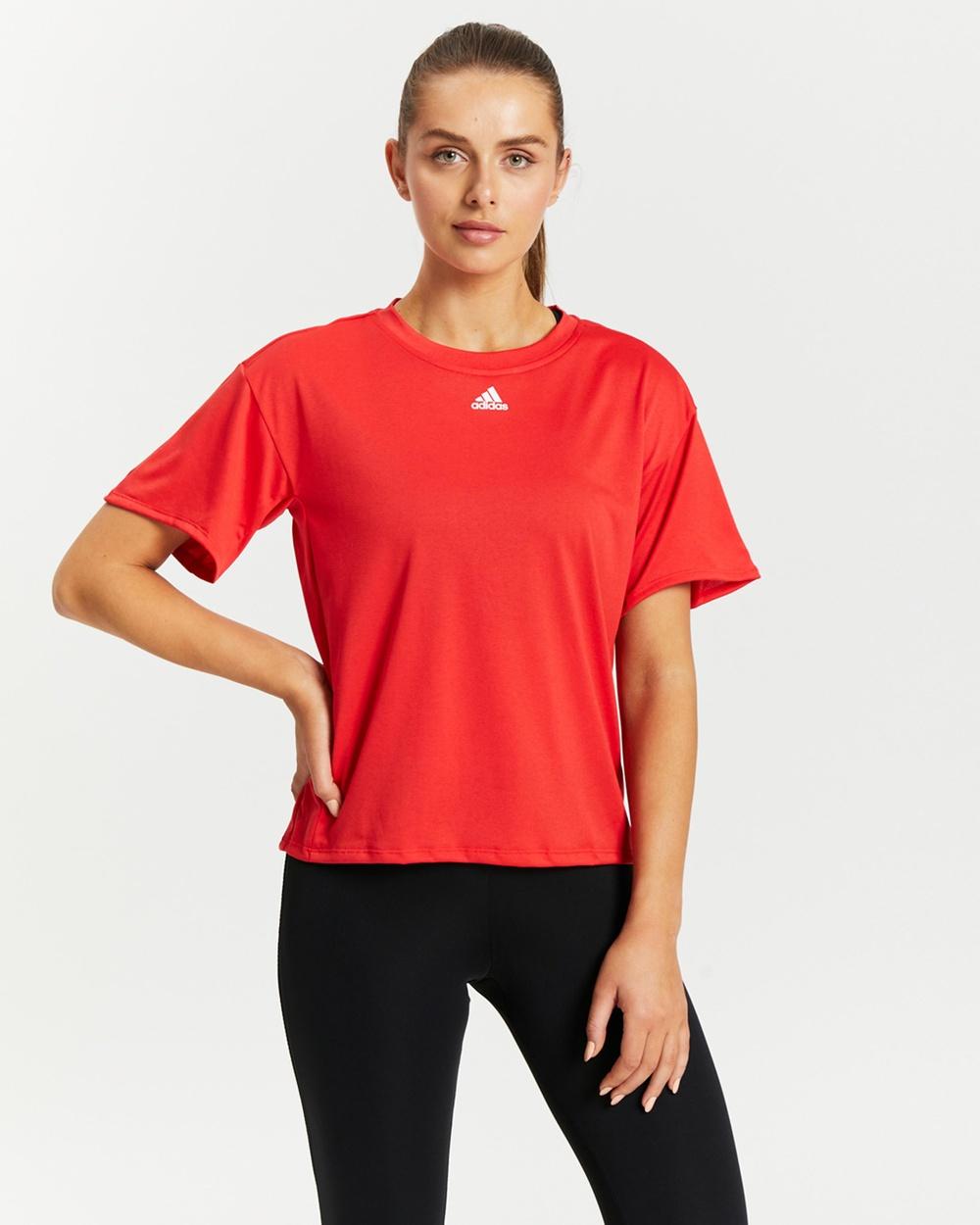 adidas Performance Training 3 Stripes AEROREADY Tee Short Sleeve T-Shirts Vivid Red 3-Stripes Australia