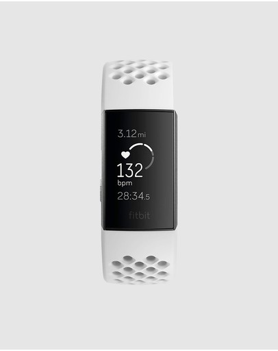Fitbit - Fitbit Charge 3 Advanced Health and Fitness Tracker - Special Edition Graphite/White Silicone