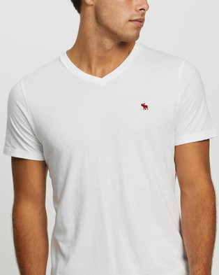 Abercrombie & Fitch SS Icon V Neck Tee - T-Shirts & Singlets (White)