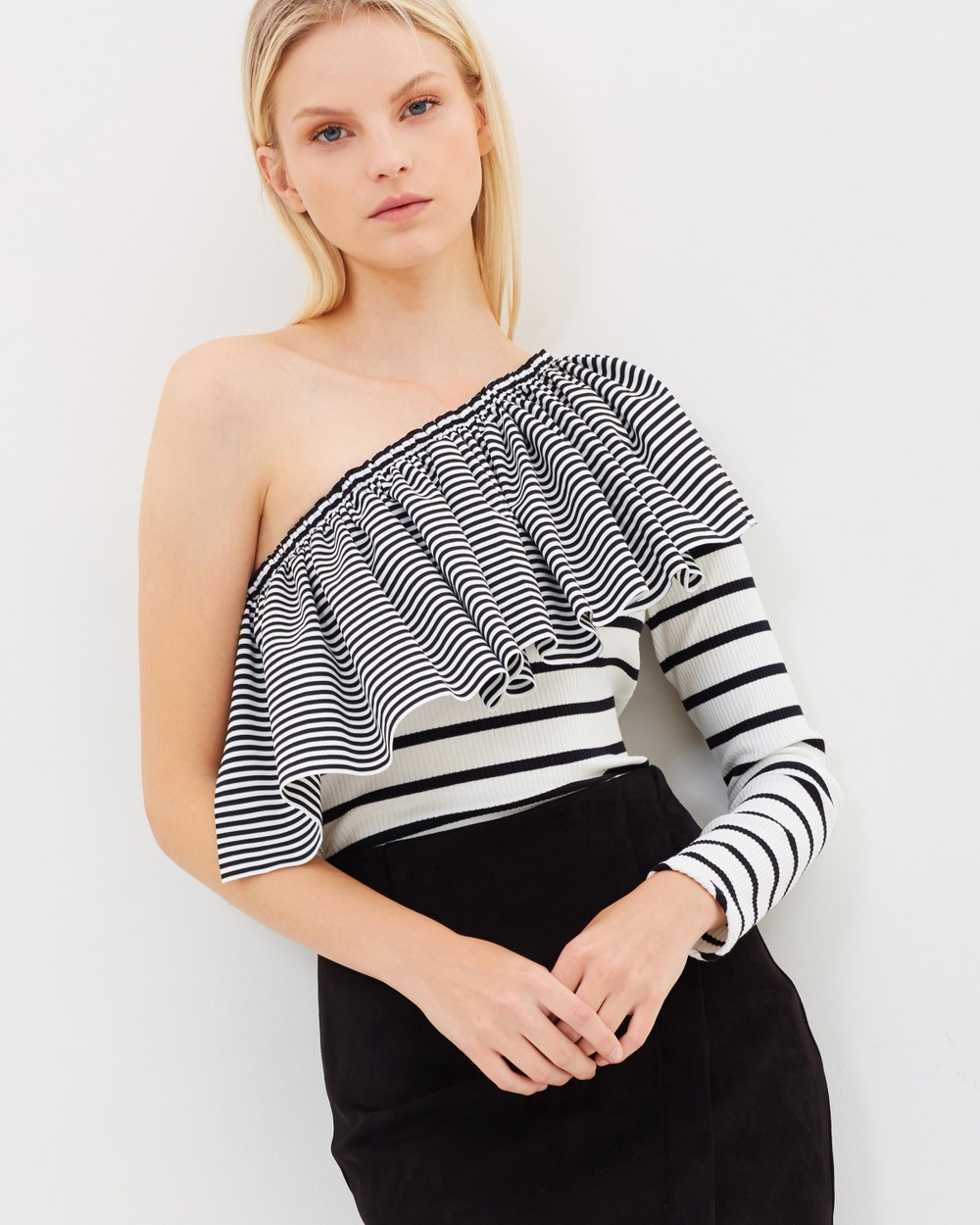 BY JOHNNY. Illusion Frill Shoulder Top Tops White & Black Illusion Frill Shoulder Top