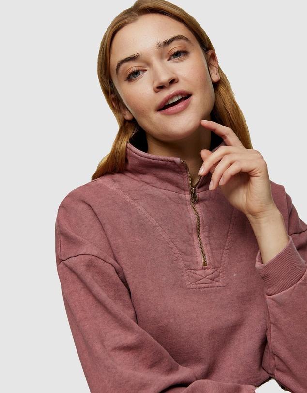 Women Petite Acid Wash Zip Neck Funnel Neck Sweatshirt