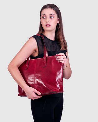 Florence The Beatrice Red Leather Tote Laptop Bag - Handbags (Red)