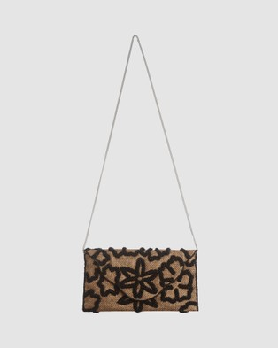 From St Xavier Raffia Flower Foldover - Clutches (Black)