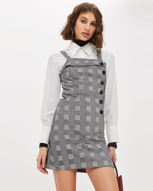 TOPSHOP – Button Check Pinafore Dress – Printed Dresses Black