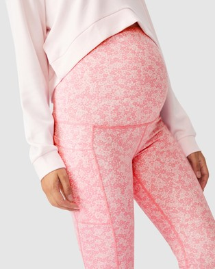 Cotton On Body Active Maternity Love You A Latte 7 8 Tights - 7/8 Tights (Daisy Fields & Tonal Pinks)