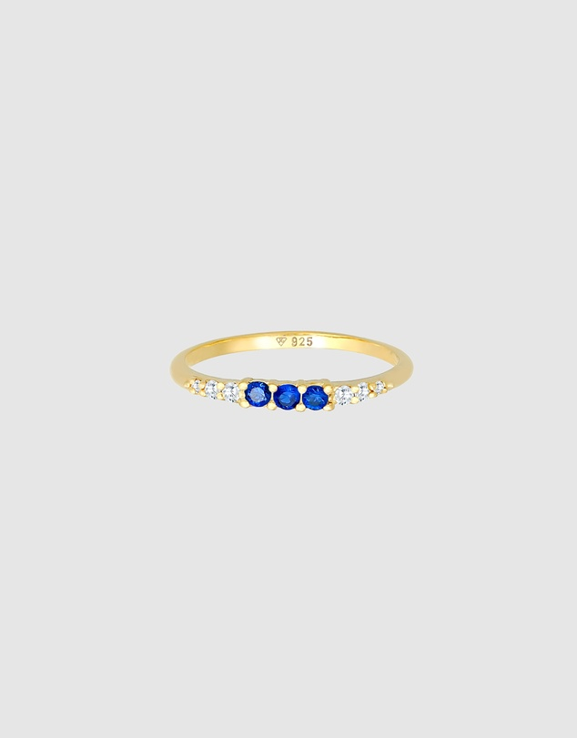 Women Ring Classic Zirconia Sapphire Synthetic in 925 Sterling Silver Gold Plated